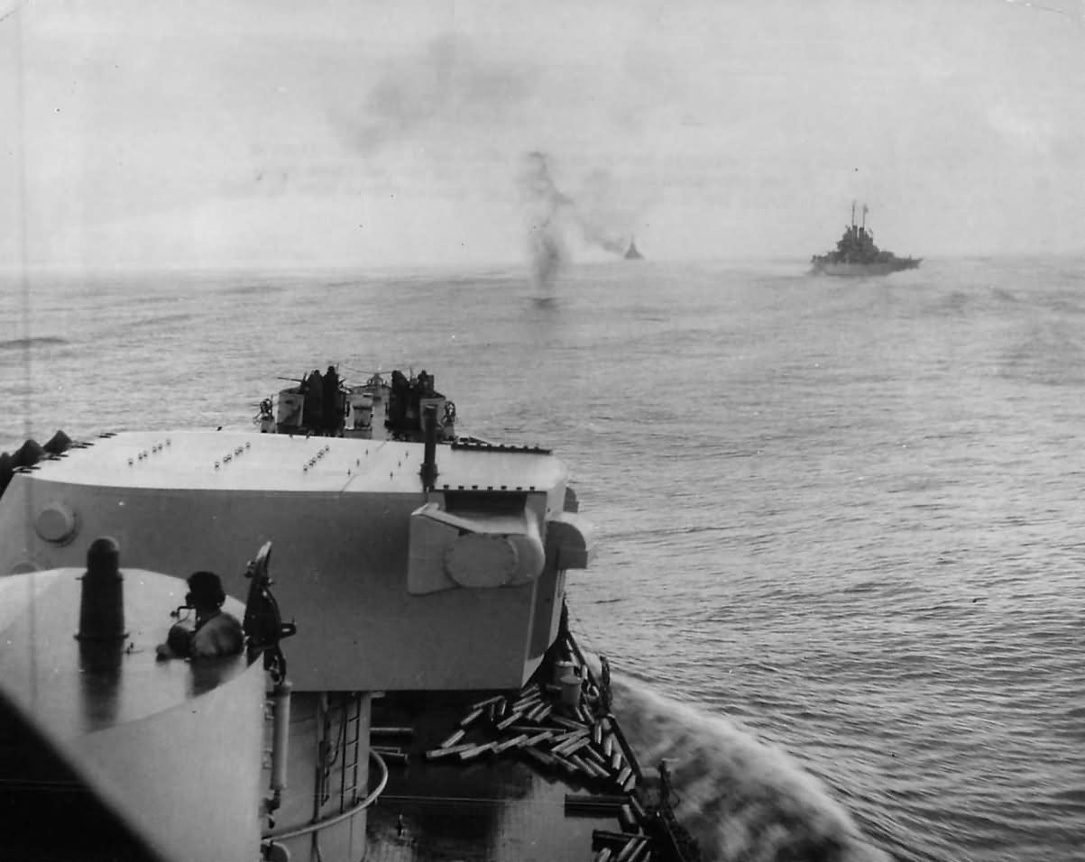 Japanese Plane Downed near USS Columbia off Bougainville 1943
