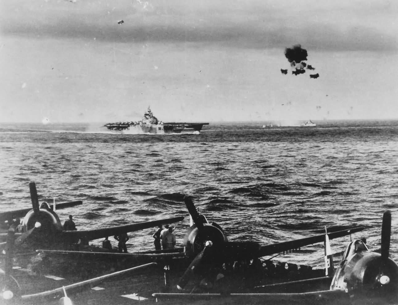 Kamikaze explode in mid air over carrier USS Bennington CV-20