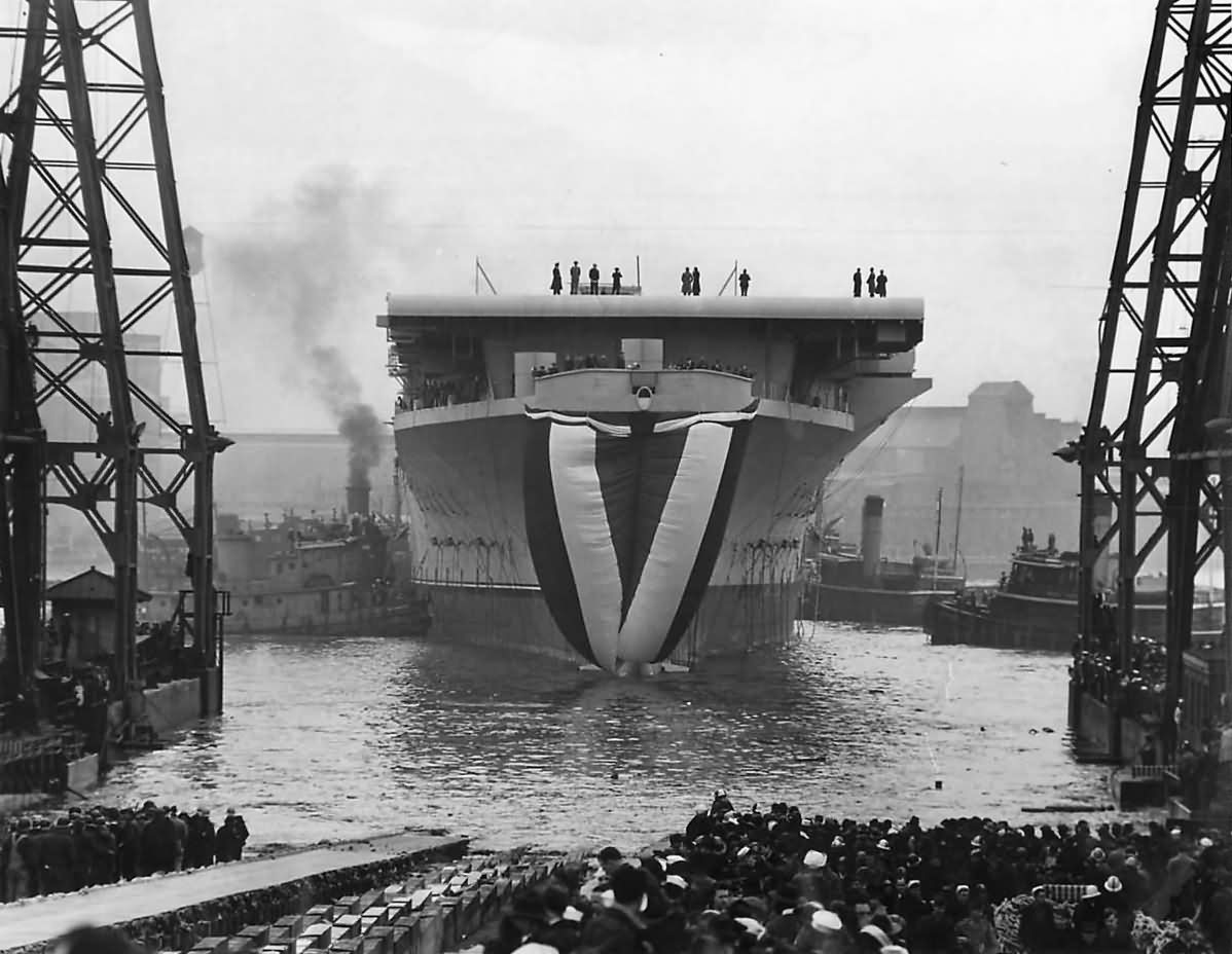 Launch of US Aircraft Carrier USS Shangri-La CV-38 24 February 1944