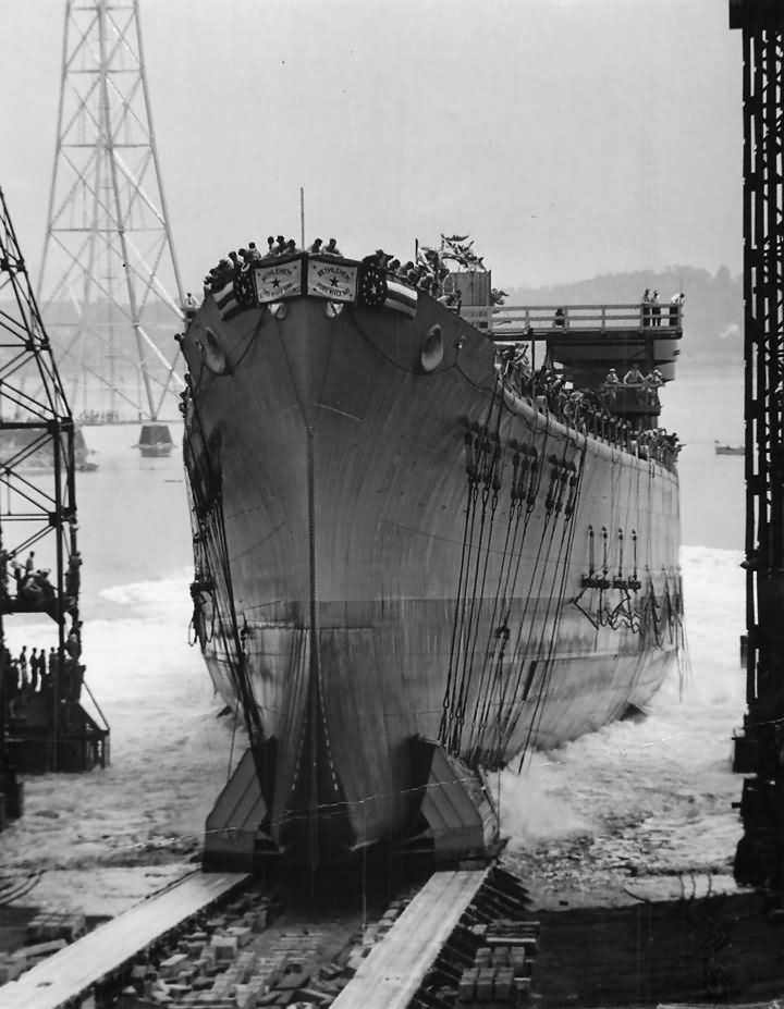 Launch of heavy cruiser USS Baltimore CA-68 at Bethlehem Steel 28 July 1942