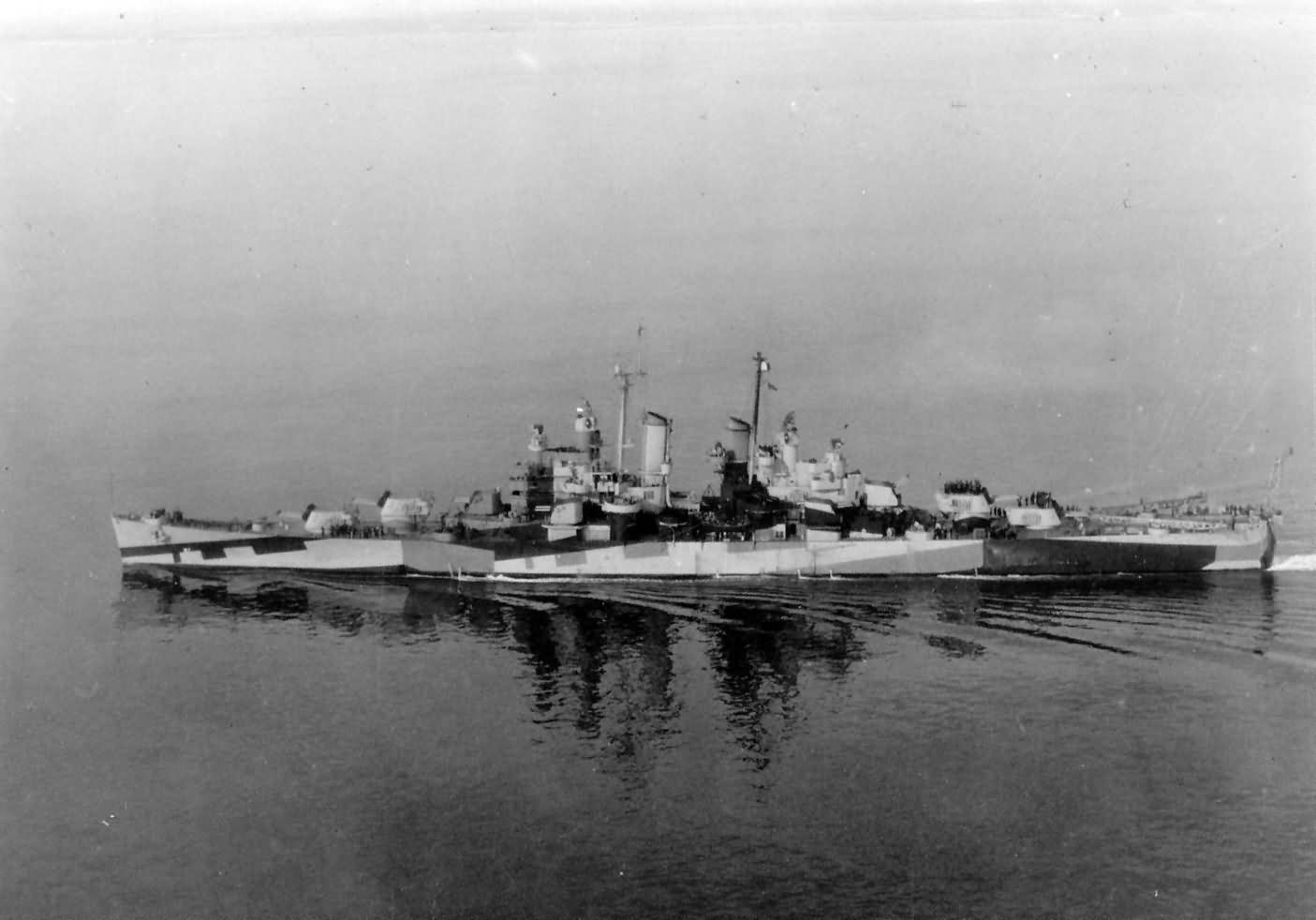Light cruiser USS Duluth CL-87 in camouflage