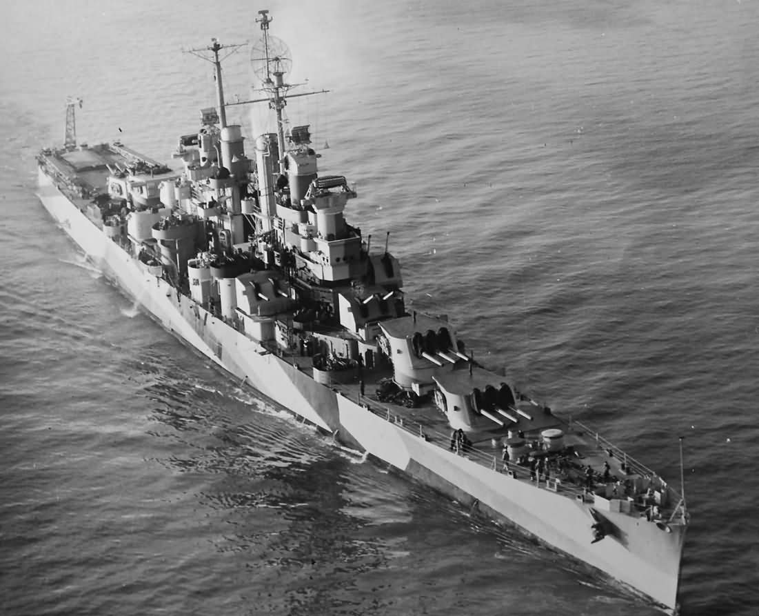 Light cruiser USS Duluth CL-87 in camouflage bow view