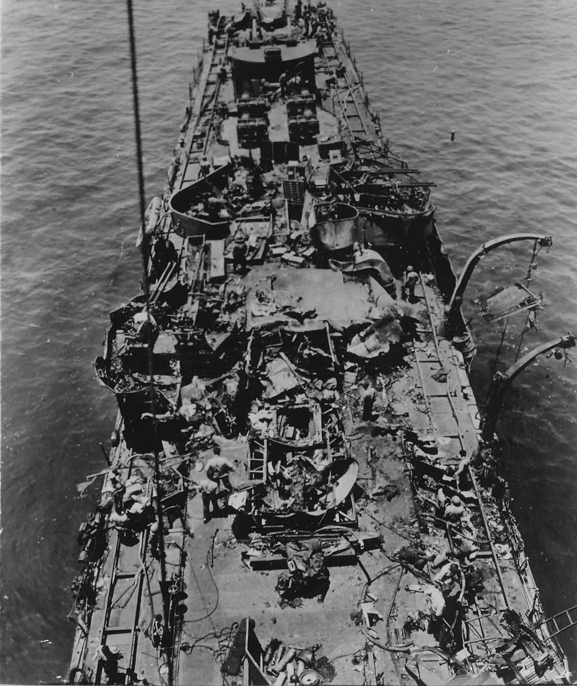 Mine layer USS Aaron Ward DM-34 hit by 6 suicide planes April 1945