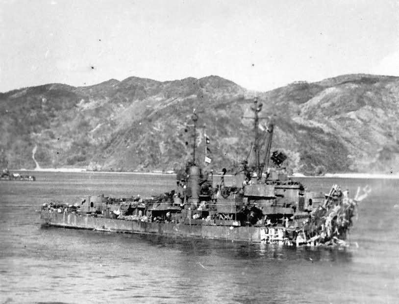 Minesweeper USS Lindsey DM-32 hit by 2 suicide planes off Okinawa April 1945