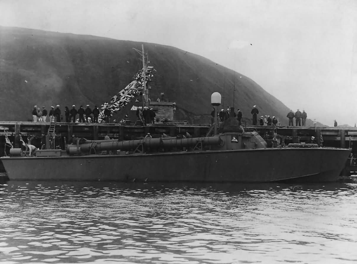 Motor torpedo boat of the Higgins 78 class USS PT-219 at naval air station in Kodiak Alaska 1943.