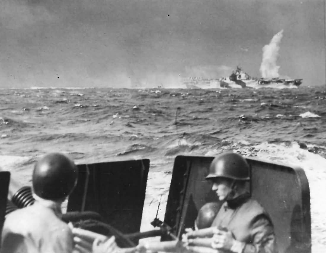 Near Miss as Japanese Bomb Explodes by US Carrier off Formosa 1944