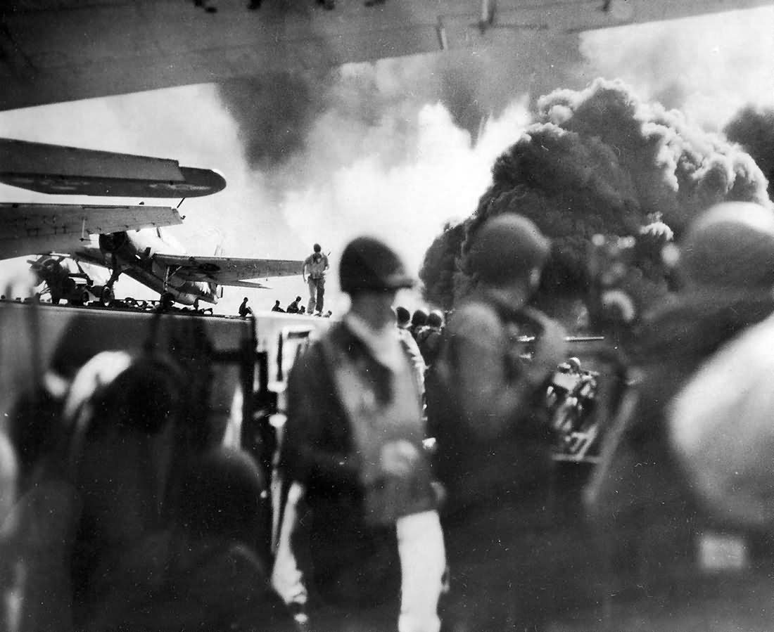 Photo of Exploding Japanese Shell Off Port Quarter of carrier USS Kitkun Bay CVE-71