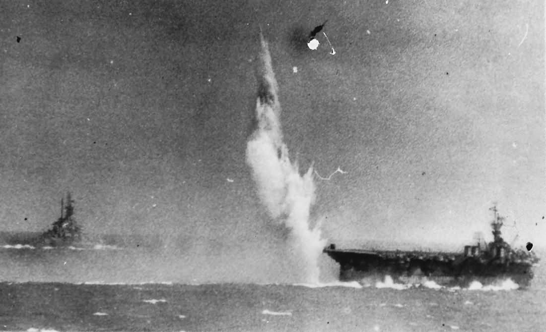 Photo of attack on US Navy Aircraft Carrier Battle of the Philippine Sea
