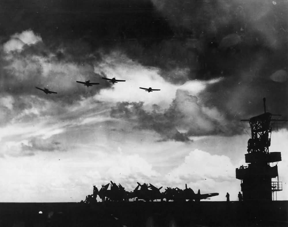 Planes over Flight Deck of US Navy Escort Aircraft Carrier 1943