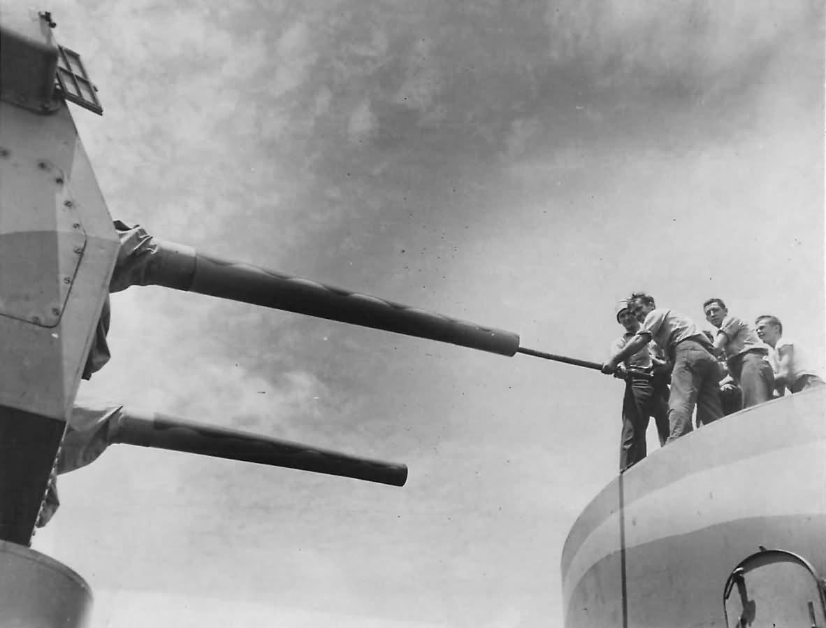 Sailors Clean Guns on US Navy Cruiser after Battle of Santa Cruz 1942