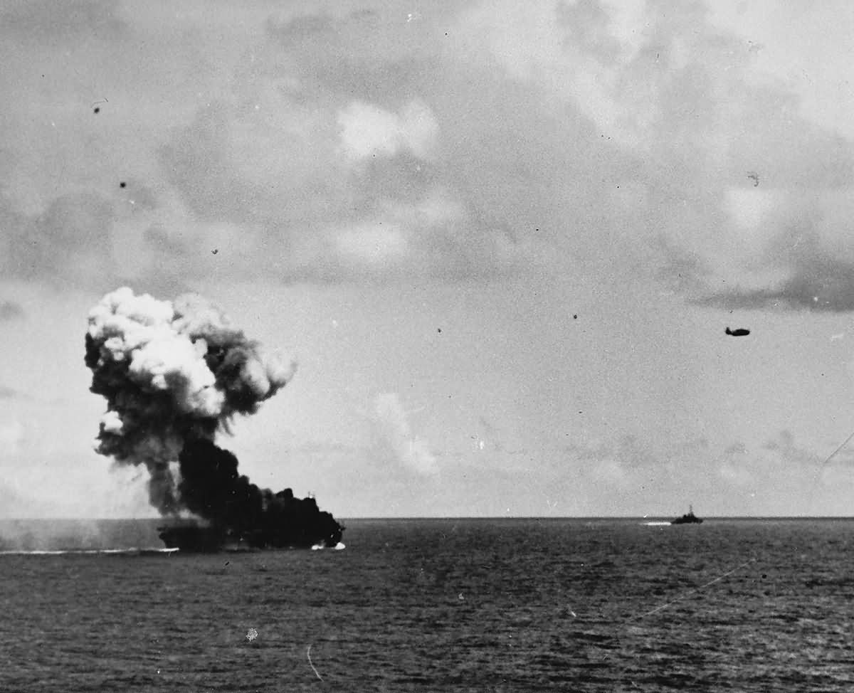 Smoke Billows from Carrier USS Suwannee CVE-27 after kamikaze attack off Leyte 25 October1944