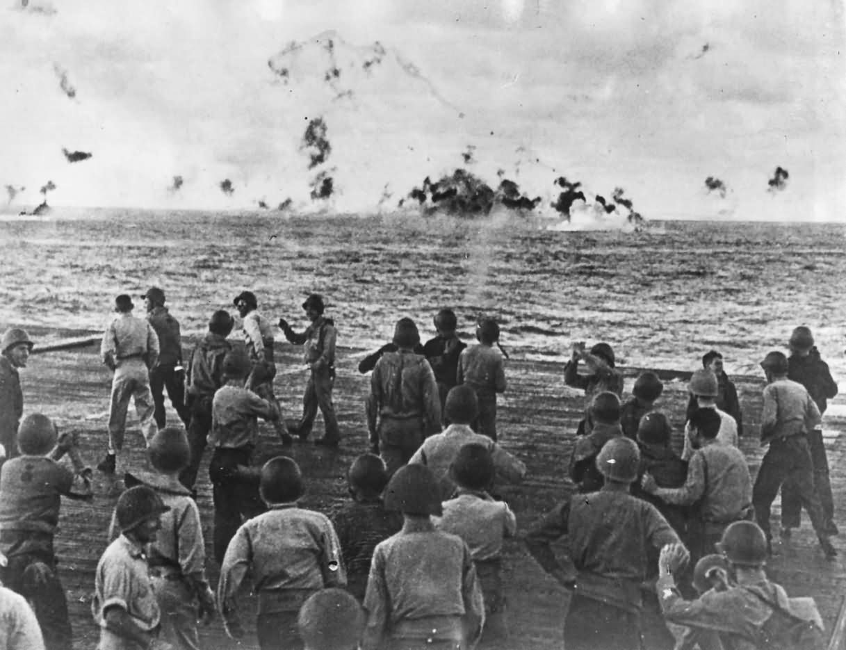 Task Force 58 Carrier Crew Cheers as Japanese Plane Goes Down pacific