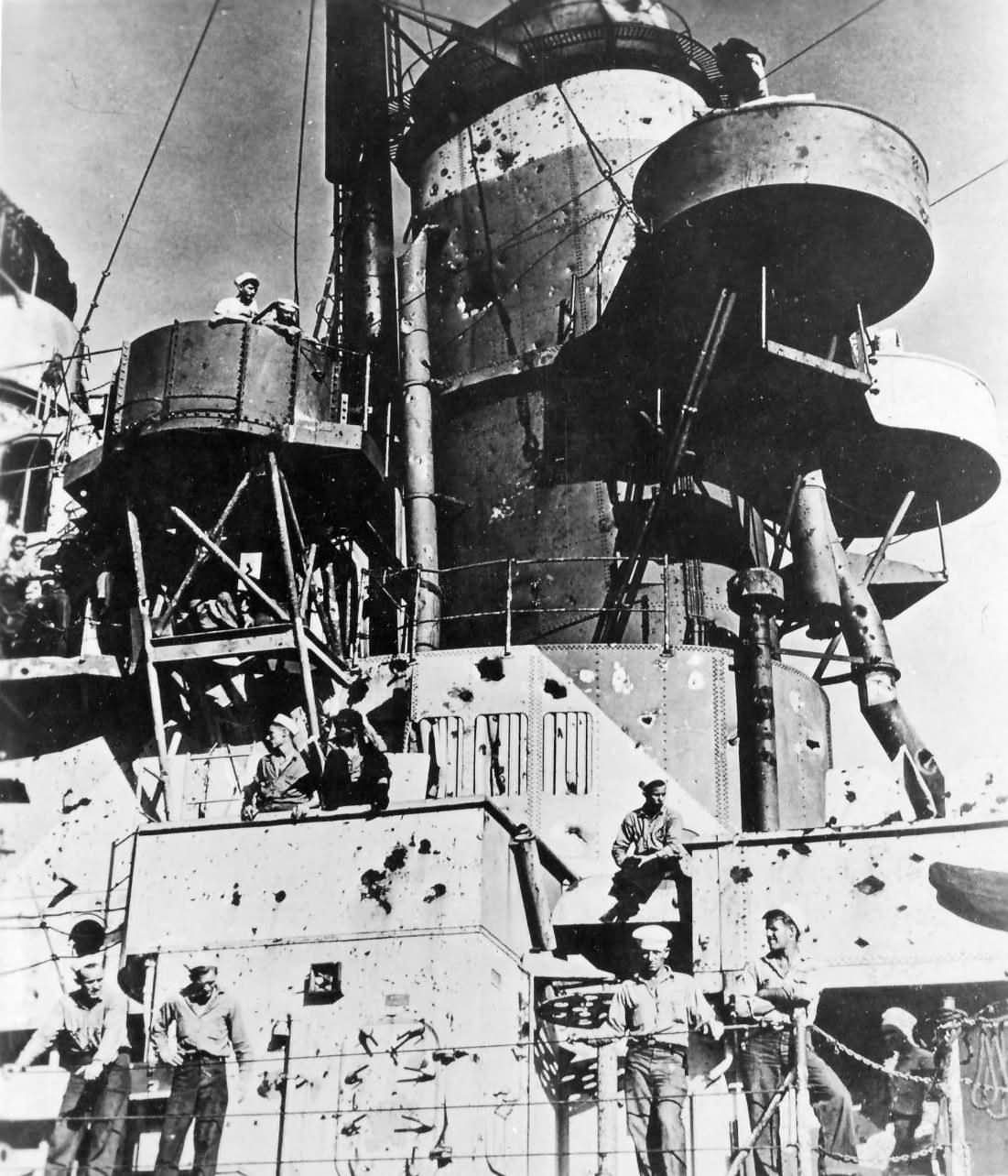 USS Birmingham CL-62 damaged by exploding USS Princeton Okinawa October 1944