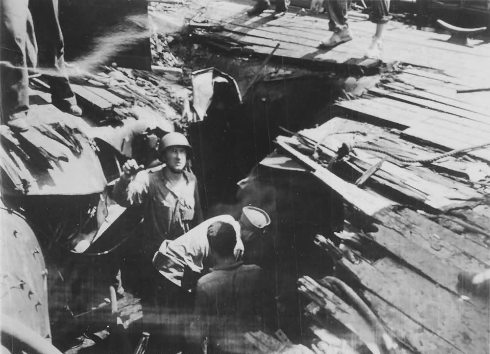 USS Birmingham CL-62 ripped by Kamikaze Okinawa May 1945
