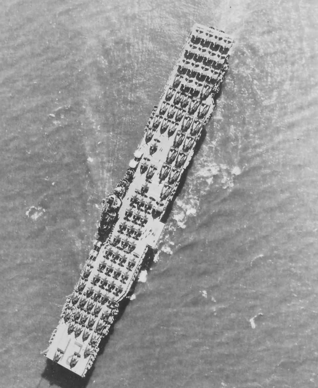 USS Boxer CV-21 carrier deck filled with airplanes