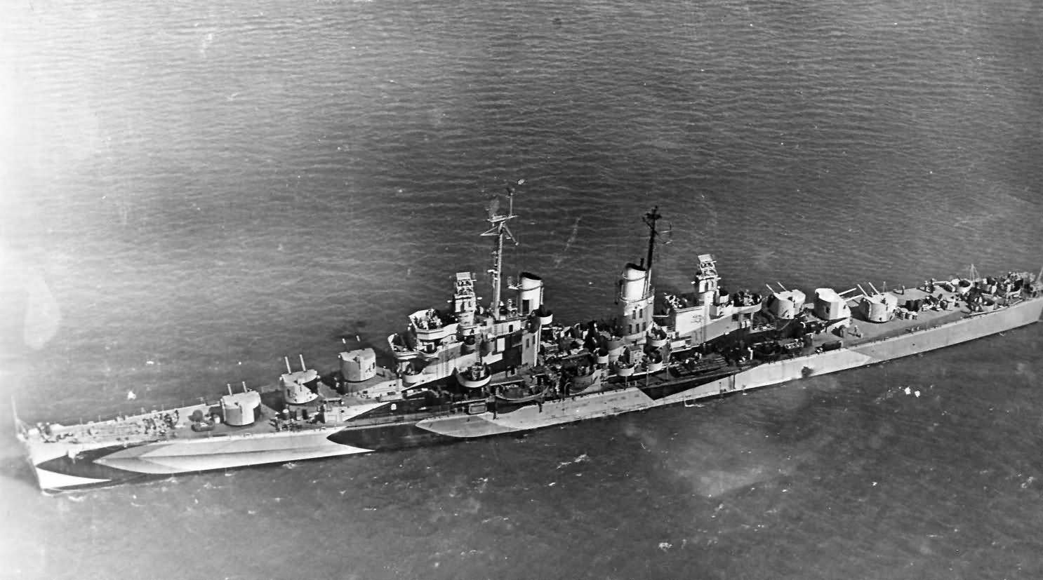 USS Flint (CL-97) US Navy Light Cruiser in camouflage
