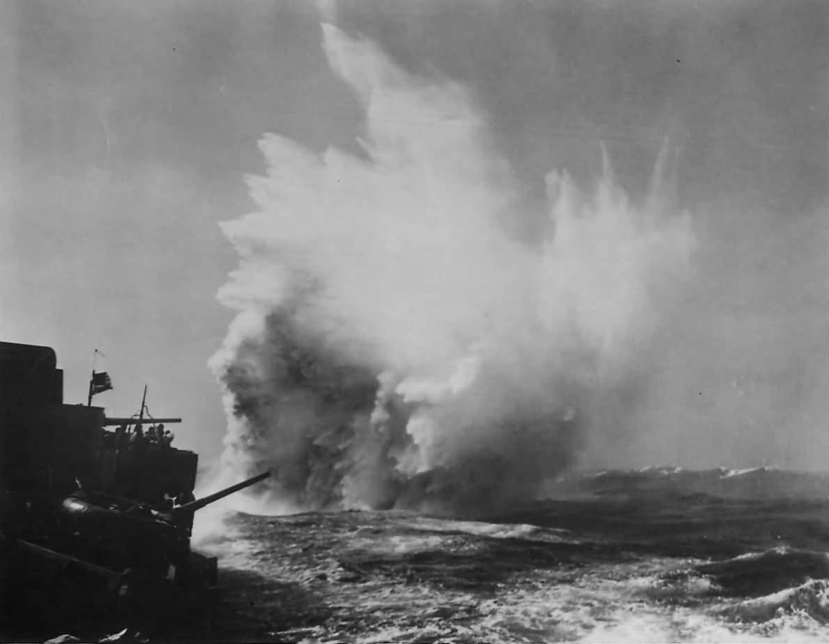 USS Greer DD-145 Drops Depth Charge in North Atlantic