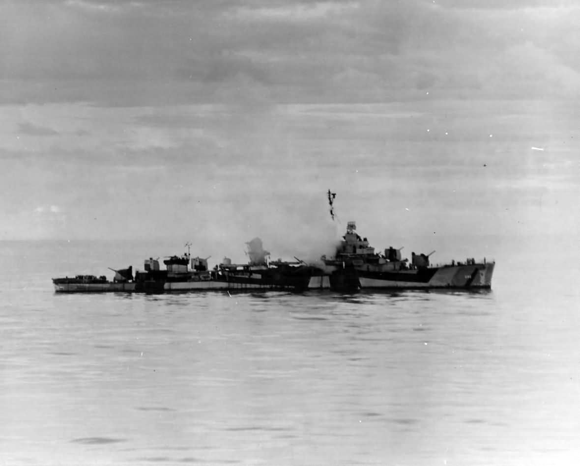 USS Haraden DD-585 Hit By Japanese Kamikaze in Sulu Sea 13 December 1944