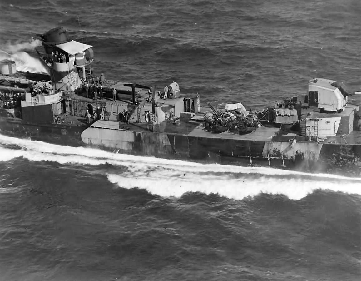 USS Hazelwood DD-531 limps home after Kamikaze Hits off Okinawa 1945