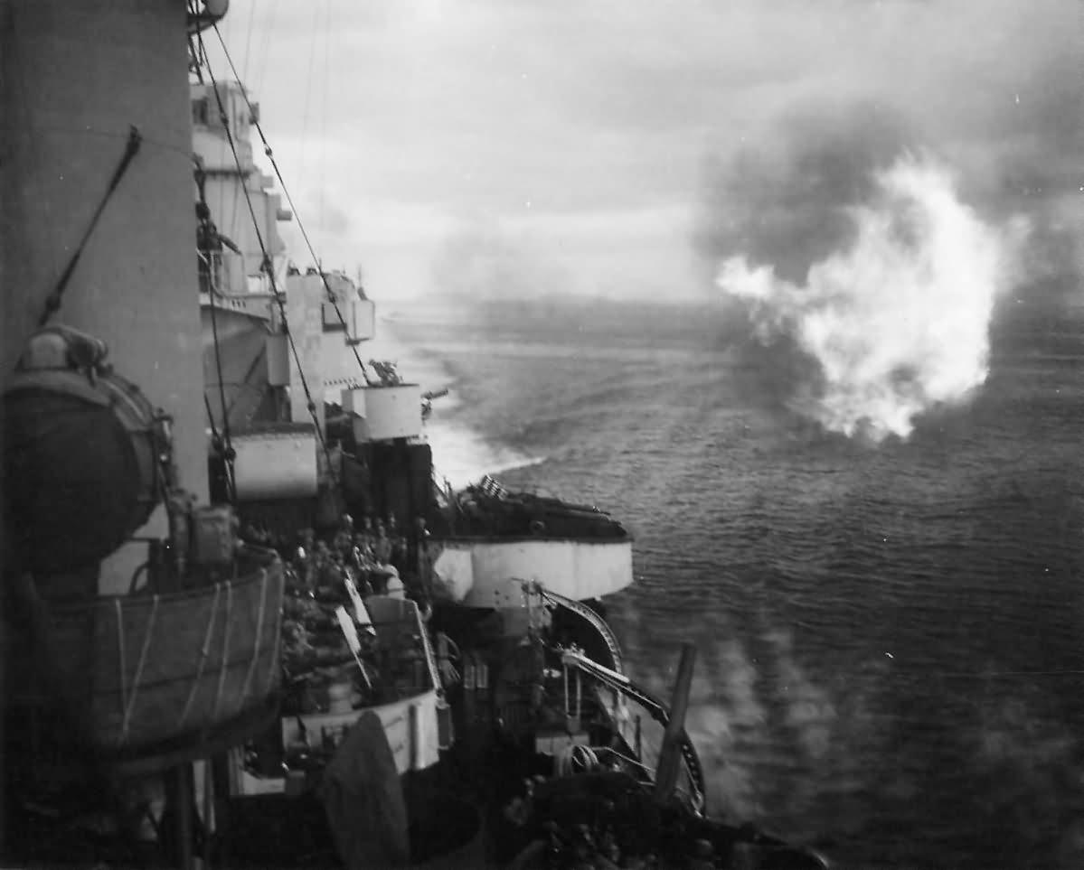 USS Honolulu CL-48 Bombarding Buka Pass in the Solomons 1944