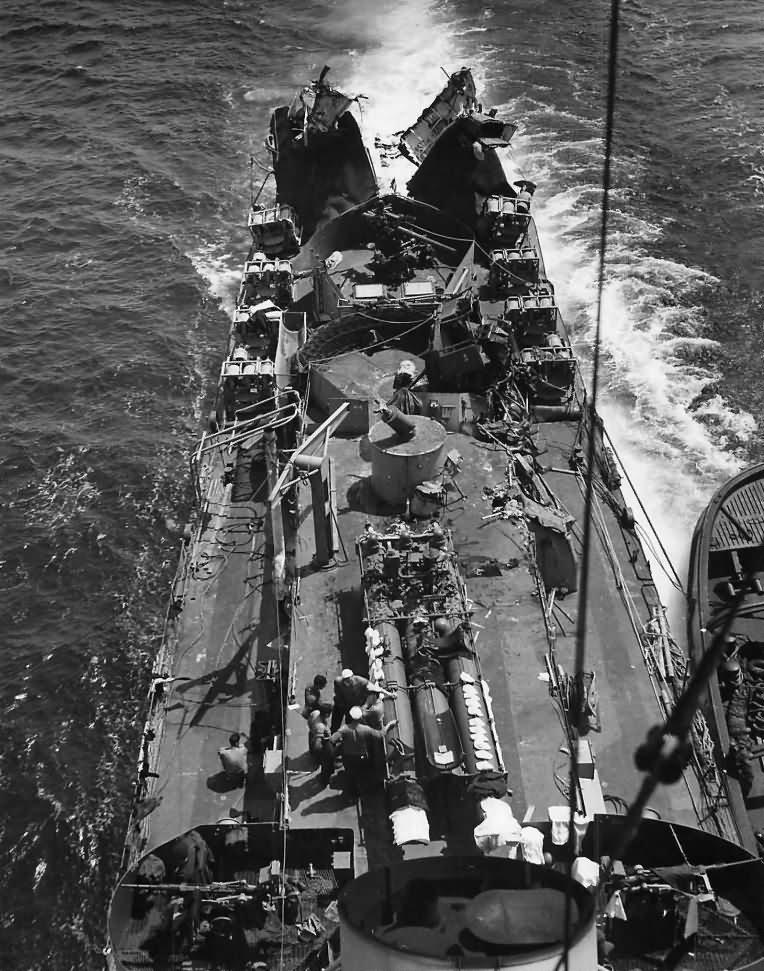 USS MENGES DE-320 after Hit by German Torpedo from U-boat U-371