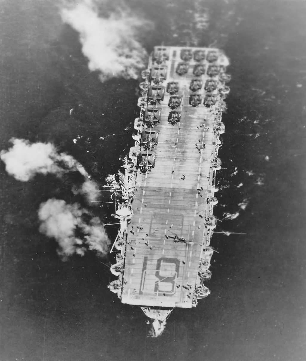 USS Rudyerd Bay CVE-81 carrier planes on deck