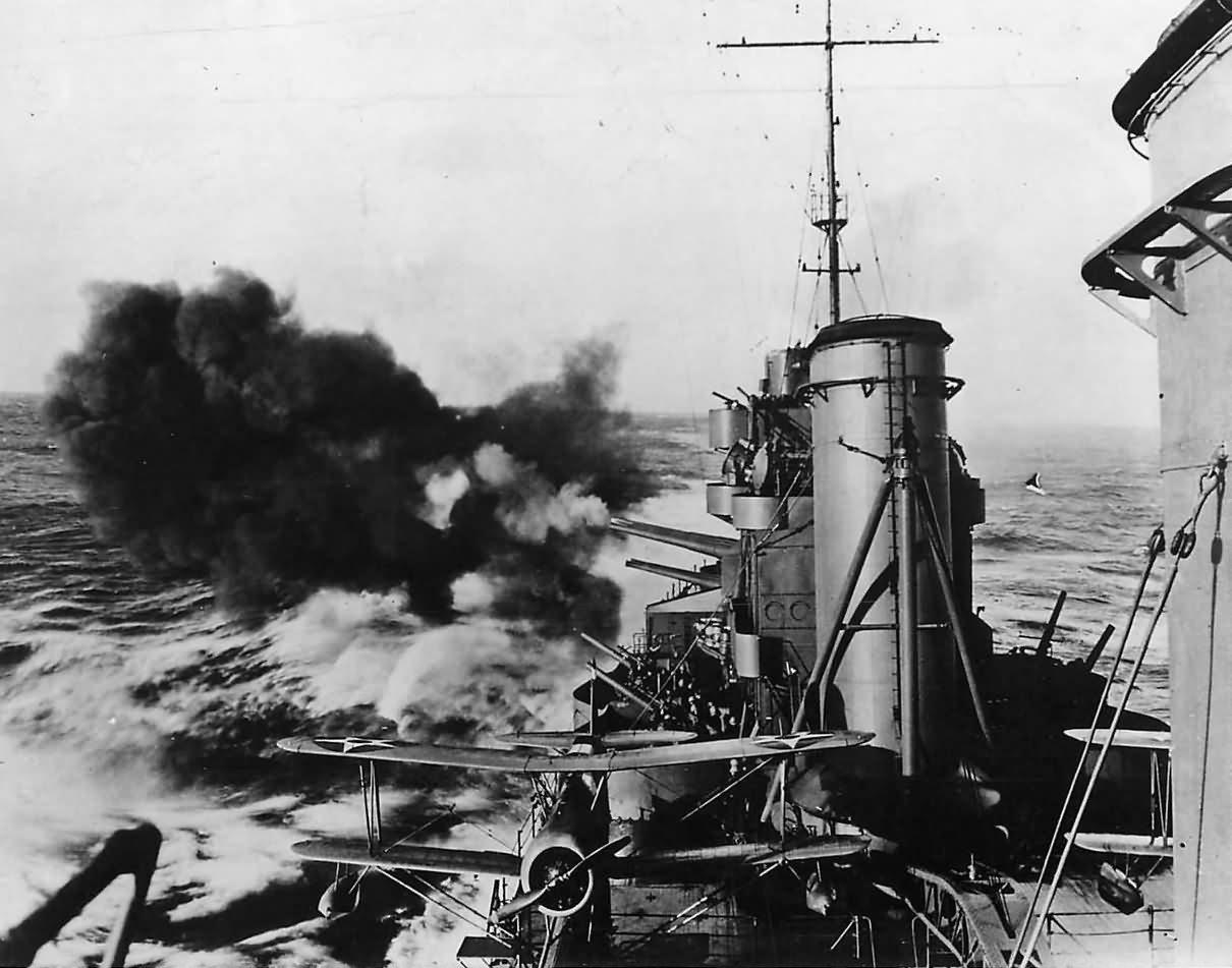USS Salt Lake City CA-25 Fires Guns during Bombardment Pacific 1942
