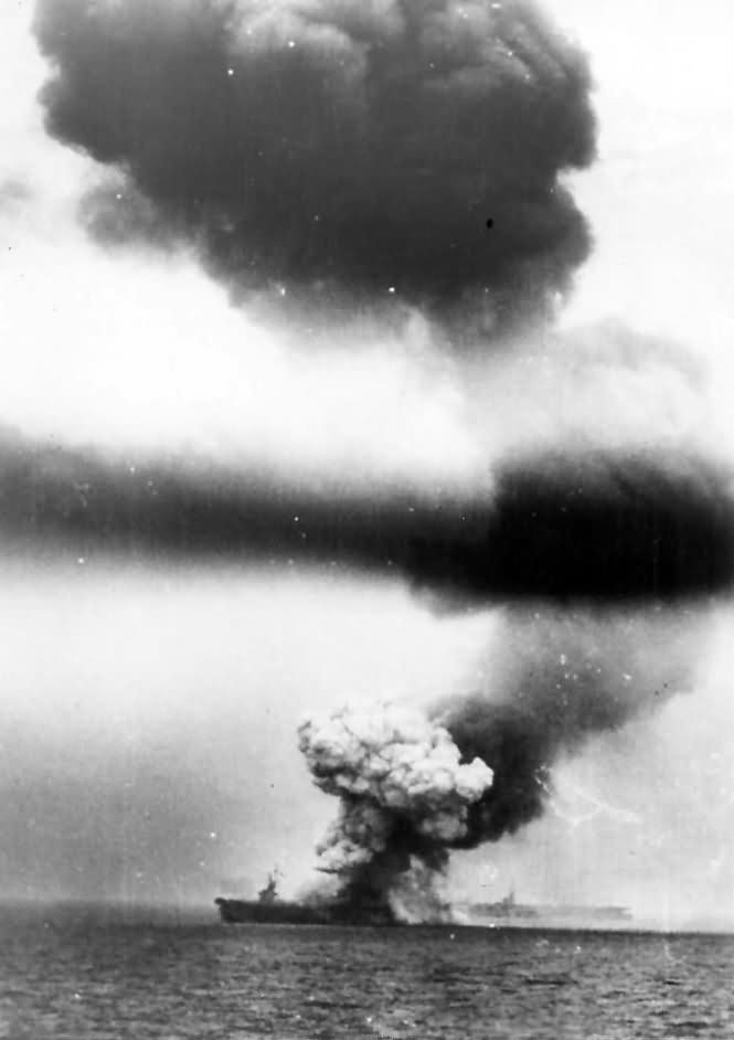 USS St. Lo CVE 63 Hit by Kamikaze in Second Battle of Philippine Sea 1944