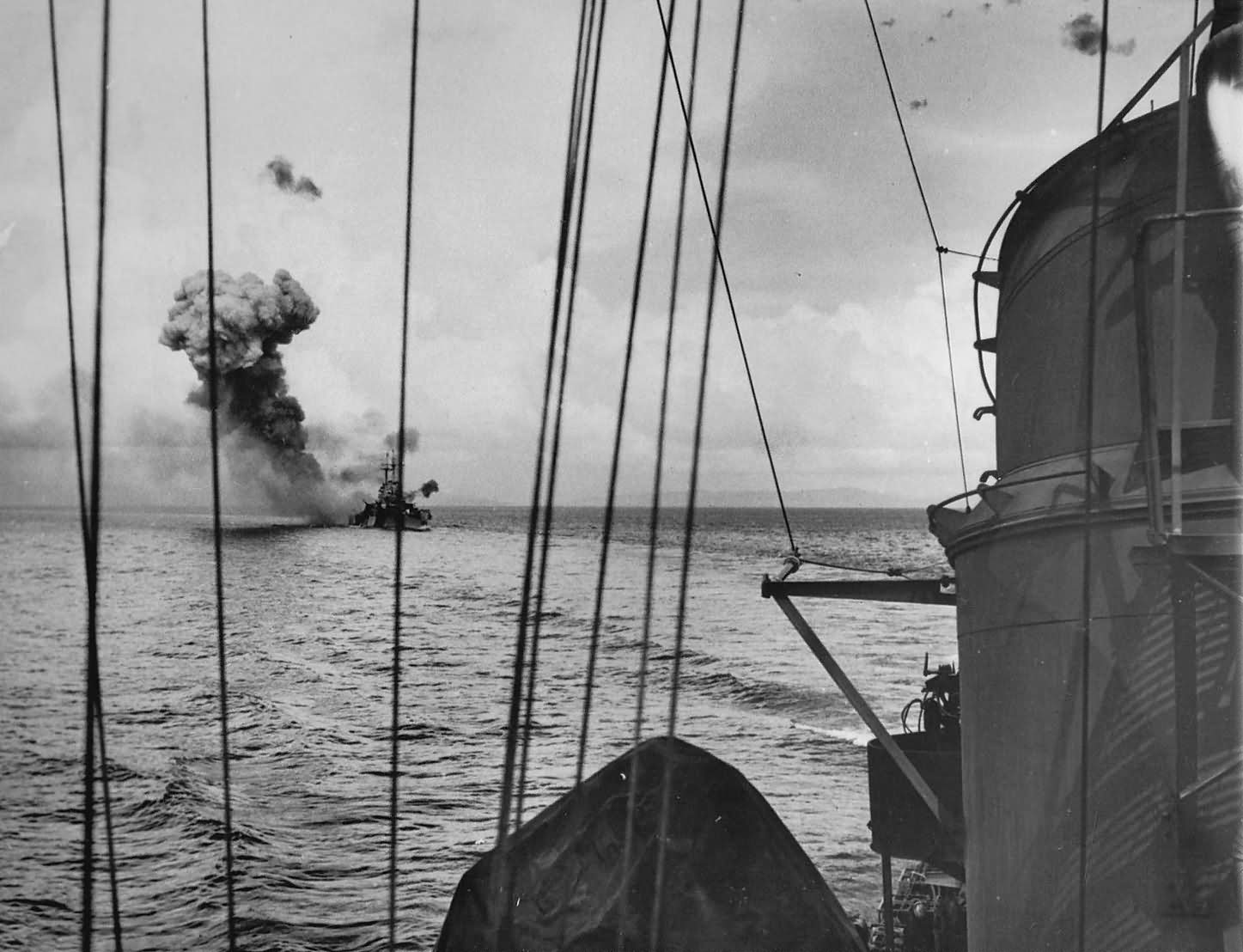 USS St. Louis CL-49 being hit by Japanese kamikaze Plane off of LEYTE Island