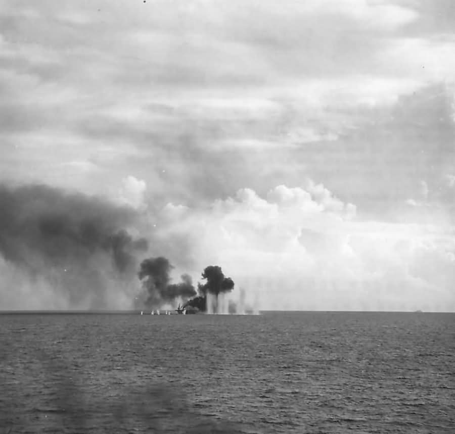 USS White Plains CVE-66 Under Attack during Battle of Leyte Gulf