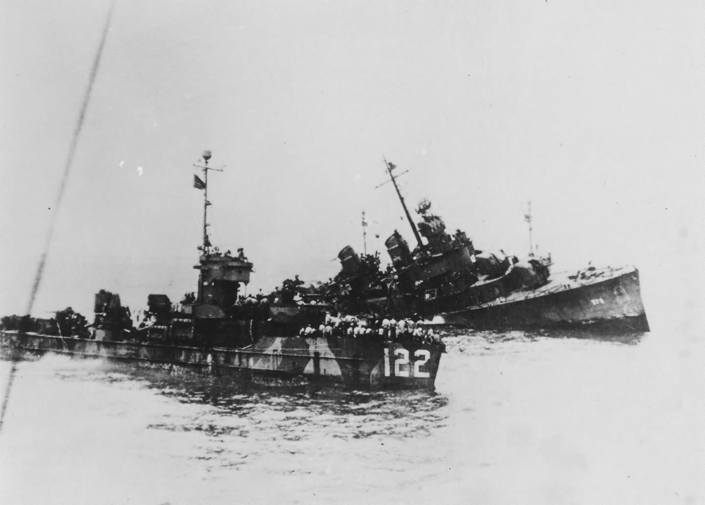 USS William D Porter DD-579 sinking by suicide Plane off Okinawa 10 June 1945