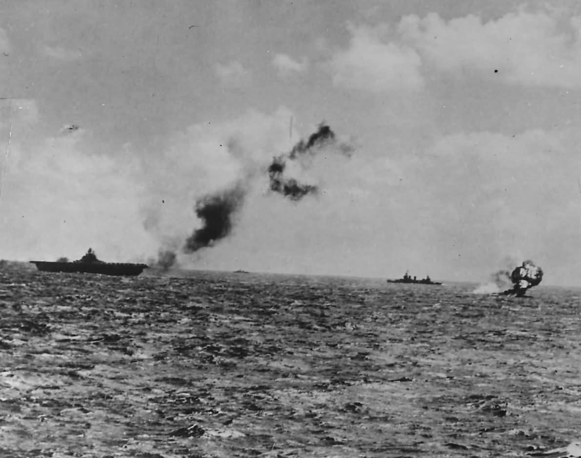 US Navy Carrier Downs Japanese Torpedo Plane in Marshalls 1944