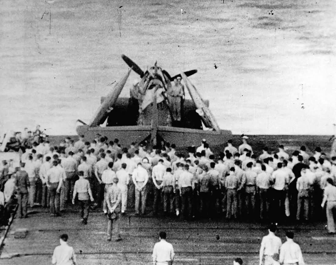 US Navy Pilot buried at sea inside battered TBF 2nd Battle of Philippines
