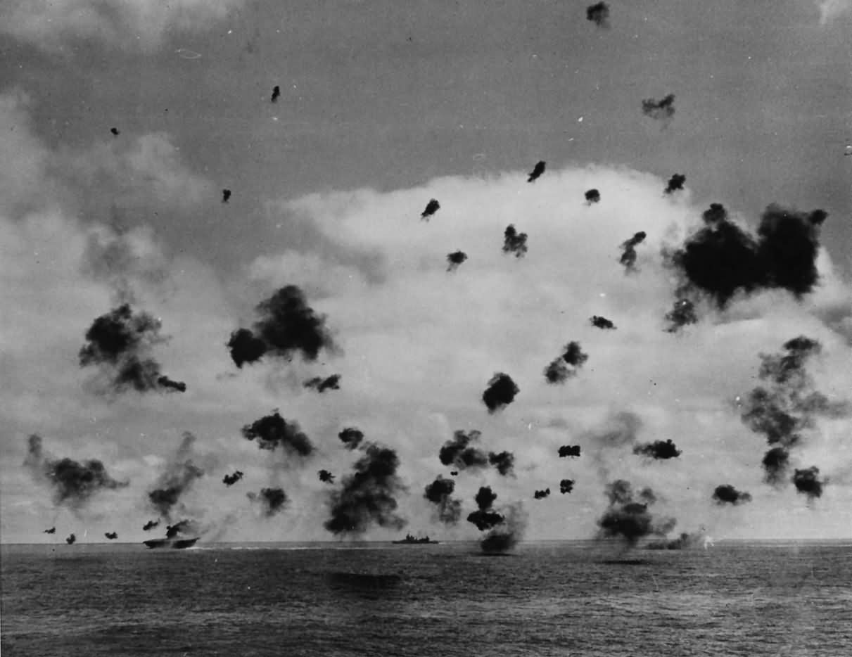 US Navy Ships Fire on Japanese Planes in Battle of Midway