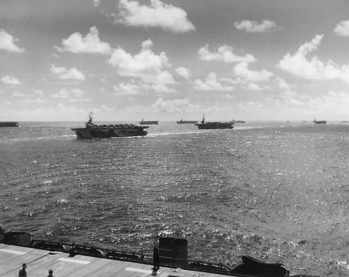 U S Navy Escort Carriers Move Thru Pacific on Mission 1945