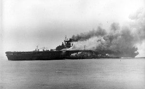 Burning USS Bunker Hill – 11 May 1945