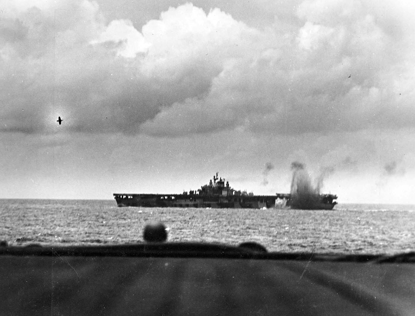 a near miss on the carrier uss bunker hill  cv