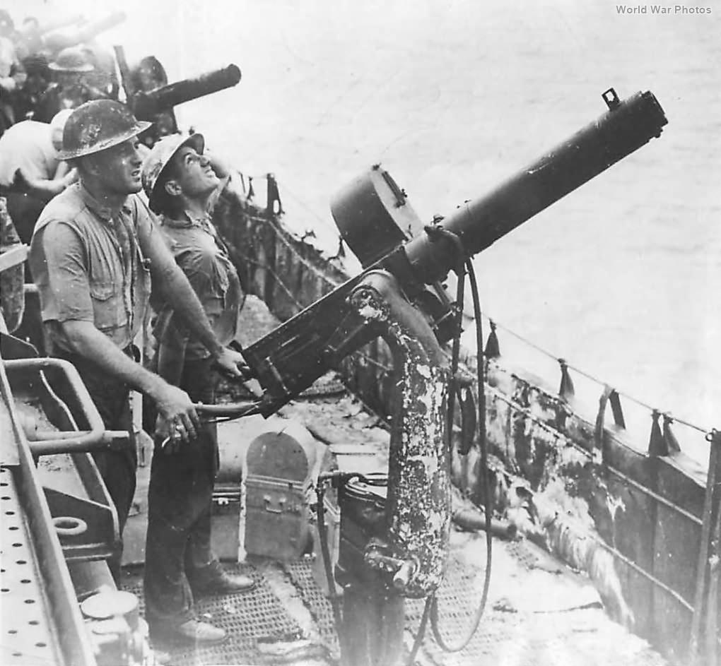 Anti Aircraft .50 Cal AA battery on Enterprise 1942