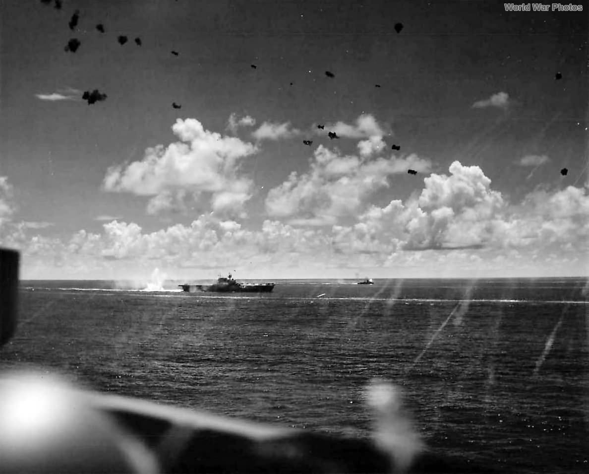 Japanese bomb explodes near carrier USS Enterprise during Battle of Santa Cruz