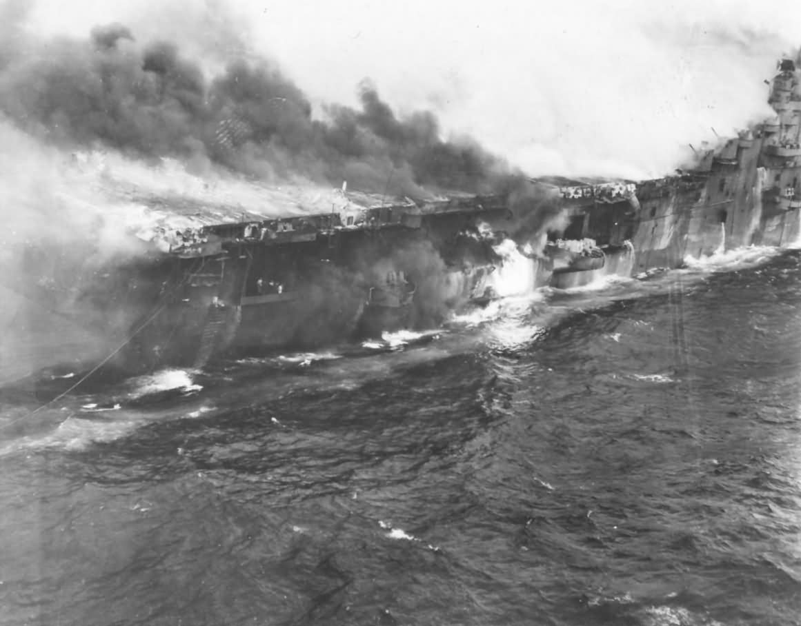 Burning USS Franklin (CV-13) after Attack off Japanese Coast 19 March 1945