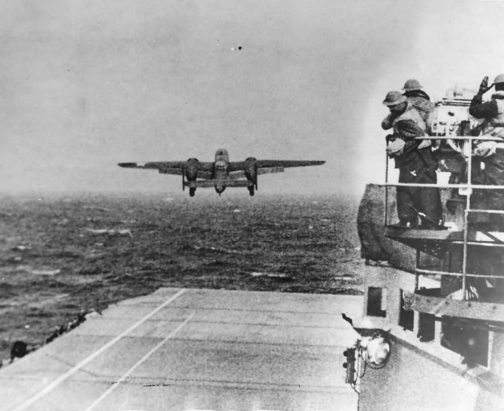 B-25 Mitchell Takes Off from USS Hornet for Doolittle Raid 1942