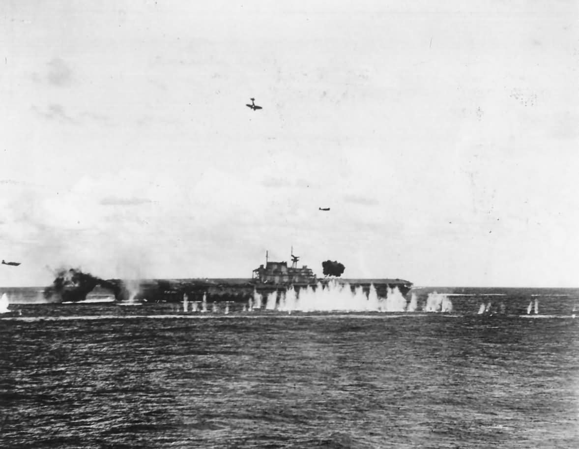 Japanese Dive Bomber Crashes on Deck of Carrier USS Hornet CV-8 1942