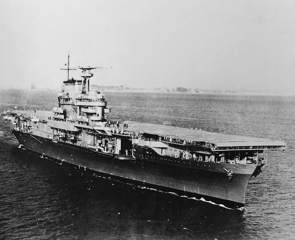 USS Hornet CV-8 bow view