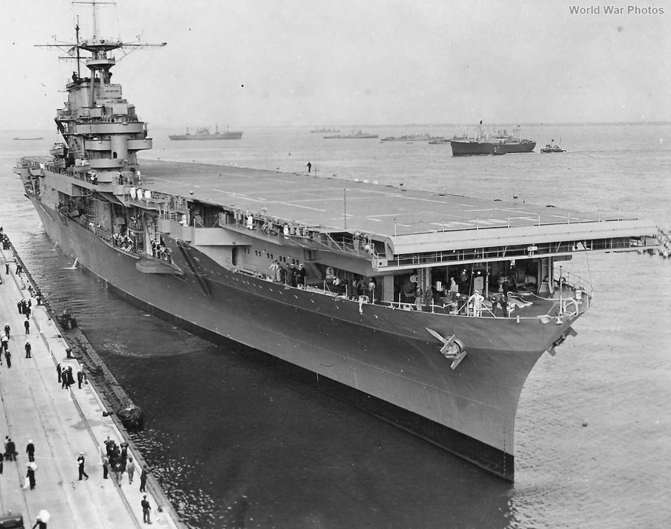 USS Hornet at its launching