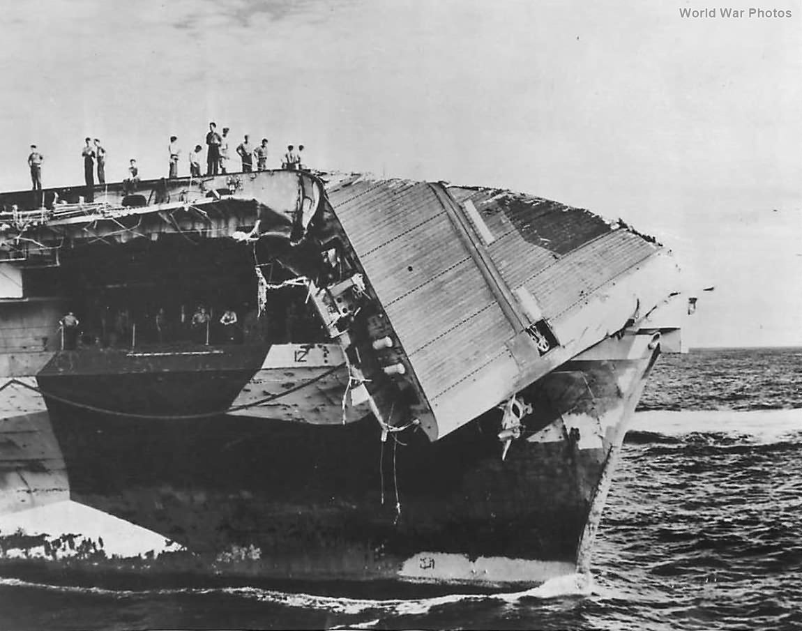Crew Inspects Damage to Carrier USS Hornet after Typhoon june 5, 1945