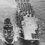 Ammo Ship Replenishing USS Hornet CV-12 1944