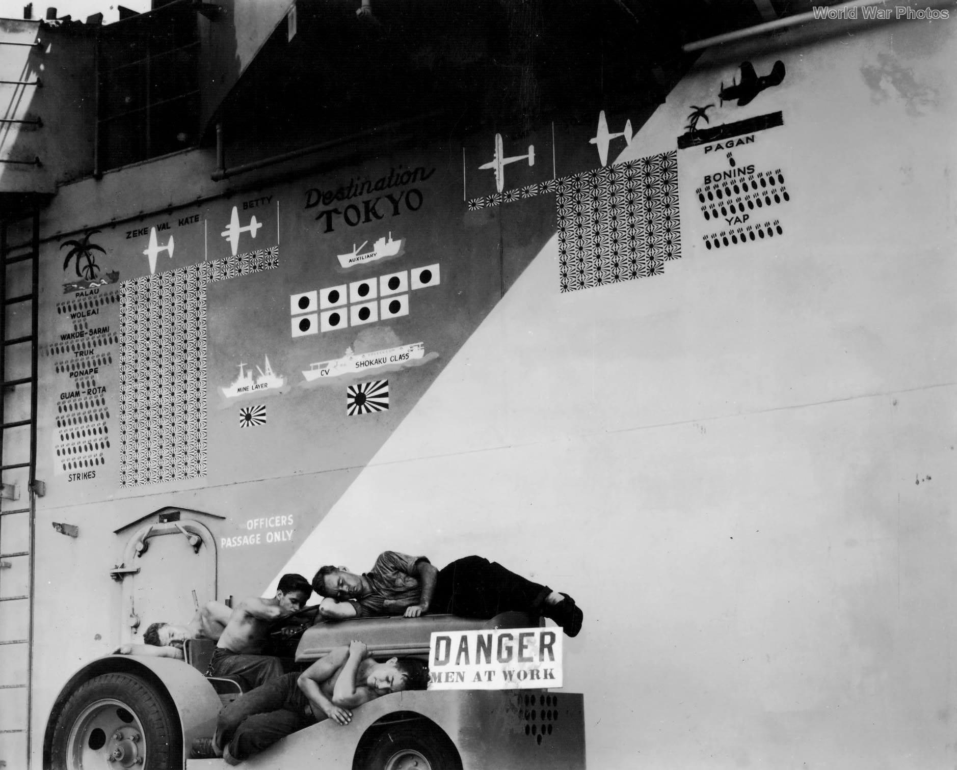 Scoreboard on USS Hornet August 28, 1944