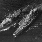 Fleet oiler of ServRon 6 refuelling Iowa class at sea 45