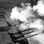 USS Iowa Firing 16 Inch Batteries 1944