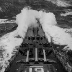 USS Iowa breaks through heavy seas